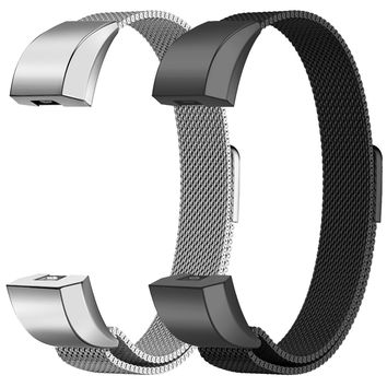 "Oitom for Fitbit Alta HR Accessory Bands and Fitbit Alta Band Metal Mesh Accesorry Replacement Bands, (2 Size) Large 6.7""-9.3"" Small 5.1""-6.7"" Women Men 2 Pack Silver Black Rose Gold Champagne Rainbow"