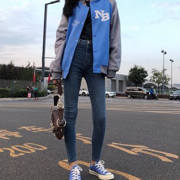 """""""New Balance"""" Sport Casual Round Neck Solid Color Leisure Print Long Sleeve Zip Cardigan Jacket Coat Baseball Clothes"""