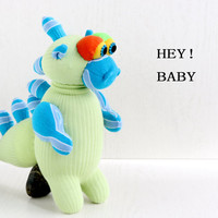 Stuffed Dinosaur, Stuffed Animal, Handmade  sock doll baby stuffed toys, Green, from Enchanted Forest   Ready to Ship