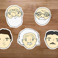 Science Stickers - Set of 5 Scientist Stickers - Darwin, Einstein, Tesla, Freud, Curie - Cute Science Gifts - Psychology,Biology,Physics Art