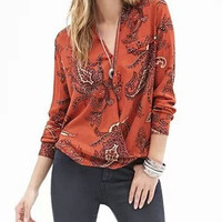 Orange Paisley Floral Print V-Neck Long-Sleeve Shirt