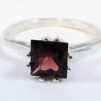 Princess Cut Garnet Sterling Silver Ring