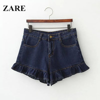 Summer Women's Fashion High Rise Slim Ruffle Rinsed Denim Denim Pants Shorts [6034331521]