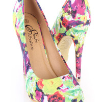Yellow Floral Print Single Sole Pump Heels Fabric