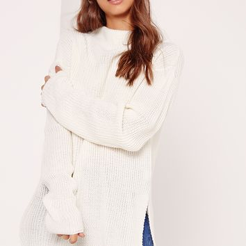 Missguided - Cream Side Split High Neck Sweater