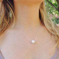 Single Freshwater Pearl Necklace in sterling silver, Dainty floating pearl jewelry
