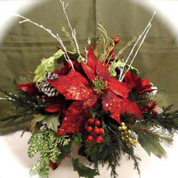 Christmas Floral Table Arrangement in Glass Bowl, Dinning Table Centerpiece,Christmas Arrangement, Christmas Dinning Table, Winter