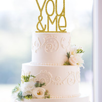 Glitter You and Me Laser Cut Acrylic Wedding Cake Topper – Customize in 6 glitter options