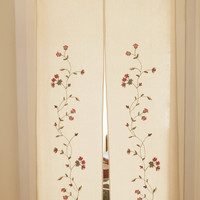 Japanese Style Beautiful Floral Door Curtain, Handmade Embroidered Cotton Linen Room Divider Home Decoration