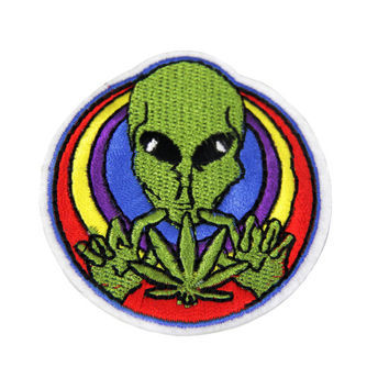Alien Patch, Grunge Patch, Soft Grunge Patch, Tumblr, Pastel Grunge, Iron on Patch, Aliens, Coachella, Festival, Kawaii, Pot Leaf Patch