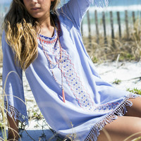 Pocahontas Fringe Embroidered Powder Blue Tunic