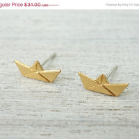 Spring Sale Paper Boat Post Earrings, minimalist studs, nautical theme