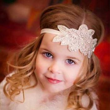 New Arrival Pearl Beads Flower Leaves Girls Newborn Hairband Rhinestone Headband Kids Hair Band Wedding Accessories