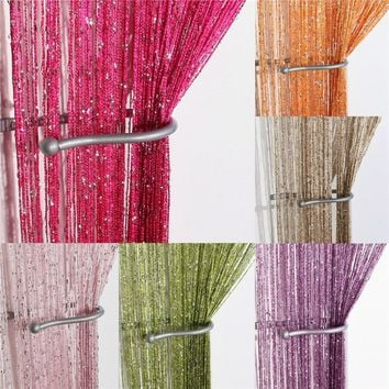 10 Colors Line String Window Curtain Tassel Door Room Divider Scarf Valance