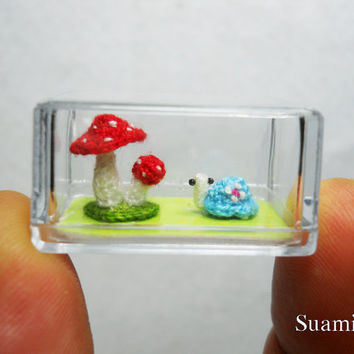Micro Blue Turtle Red Mushroom - Tiny Crochet Miniature Tortoise - Made To Order
