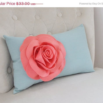 MOTHERS DAY SALE Light Coral Rose on Dusty Blue Lumbar Pillow -Decorative Pillow-