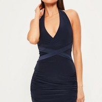 Missguided - Navy Wrap Waist Slinky Halterneck Dress