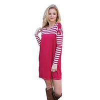 Women's Long Sleeve Spring Casual Stripes Sweater Rose Color Mini Dress