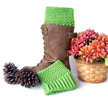 Bright Green Crochet Boot Cuffs | Warm Boot Toppers | Fall & Winter Fashion | Womens Fashion | Boot Accessories