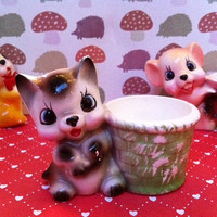 Kitsch kitty figurine egg cup/trinket dish!! Cute, retro, vintage china cat cup!