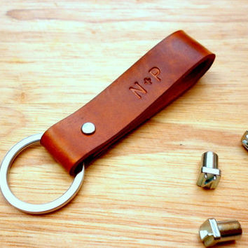 Personalized Monogram Leather Keychain//Custom hand stamped Initial Keyring Key Fob//Gifts under 10//Gifts for him//Anniversary gifts