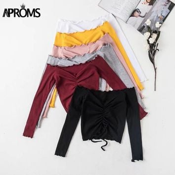 Aproms Ribbed Off Shoulder Drawstring Tie T Shirt Women Long Sleeve Short T-shirt Summer 2018 Casual Crop Top Female Tee Tshirts