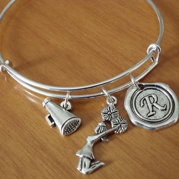Cheerleader bangle bracelet, cheerleading bracelet, megaphone charm, personalized bracelet best friend bracelet, friendship gift