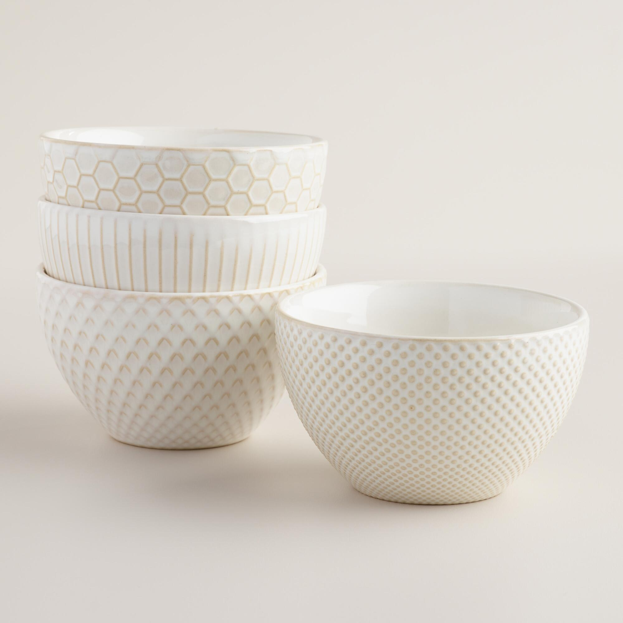 White Textured Bowls, Set Of 4 From Cost Plus World Market