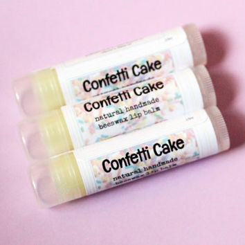 Vanilla Confetti Cake Lip Balm // All Natural Handmade Beeswax Lip Care with Vitamin E and Shea Butter // Dessert Lip Balms