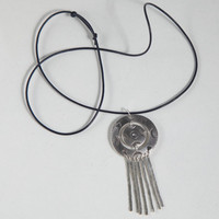 Tribal Boho Fine Silver Pendant Necklace Medallion Fringe Bohemian Artisan Jewelry Hand Tooled Handmade Metalwork Native American Style