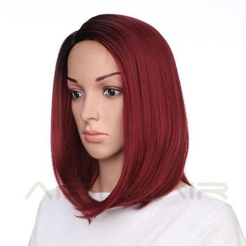 LMFONT Synthetic Short Burgundy Bob Ombre Red Wigs