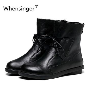 Whensinger - Women Boots Handmade Shoes Vintage Genuine Leather Low-heeled X1503