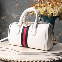 Gucci GG Leather white Tote Handbags for Women men Multicolor Striped Shoulder leather bags TRAVEL luggage Backpack white
