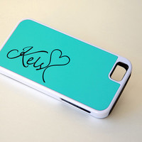 Personalized Protective Mint Blue Phone Case, iPhone 4, 4s, 5, 5s, 5c, 6, 6+, Samsung Galaxy S4, S5 Case, Monogrammed