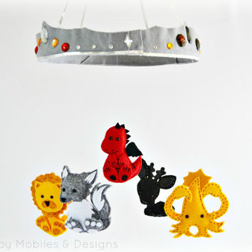 A Game of Thrones mobile - Wolf, lion, dragon, stag, kraken, crown - Geekery - Fantasy - nursery decor