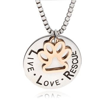 Live Love Rescue Pet Paw Cat Print Necklaces Hollow letter Love Word dog lover Paw Dog Print necklace Supply Mothers Day Jewelry