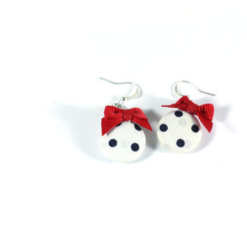 White with black polka dot fabric covered dangle button charm earrings with red gross grain ribbon bows - girls teens womens teacher jewelry