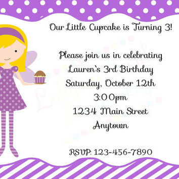 Printable Purple Cupcake Fairy Girls Birthday Invitations