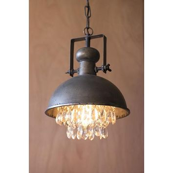 Kalalou CLL1122 Antique Bronze Dome Pendant Lamp with Hanging Crystals