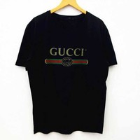 """Gucci"" Fashion Women Men Loose Letters Print Short Sleeve T-shirt Pullover Top"