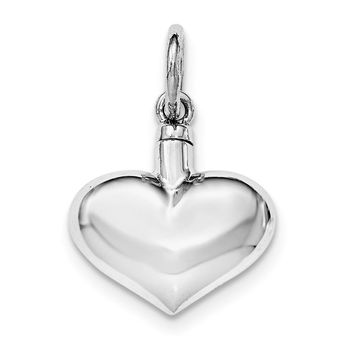 Sterling Silver Polished Puffy Heart Ash Holder Pendant