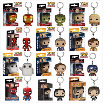 Funko Marvel Avengers Iron Man Hulk Thor Captain America Game of Thrones Walking Dead Doctor Packet Key Chain Pop  Vinyl Figure