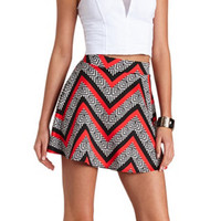 MULTI CHEVRON PRINTED SKATER SKIRT