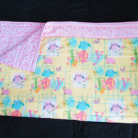 Too Cute Owls - Large Crib Quilt with Flannel Backing - Pink, Yellow, Pastels