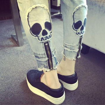 ESBON Personality Fashion Casual Zip Skull Head Jeans Pants Trousers Small Foot Pants