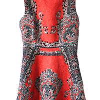 ROMWE Lace Beaded Retro Floral Print Red Dress