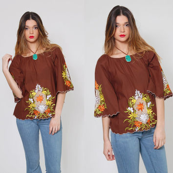 Vintage 70s Boho Top Chocolate Brown EMBROIDERED Hippie Top Bell Sleeve MESH Festival Top Peasant  Tunic