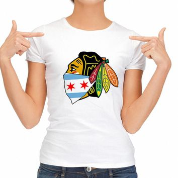 2018 Summer Sexy T Shirts Women Chicago Blackhawks Logo With City Bandana Fashion T-shirt Hip Hop Tees Hipster Womans Tops