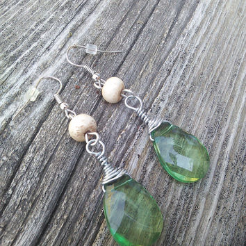 Buffalo Bone Earrings, Real Animal Bone Jewelry, Green Boho Earrings, Warrior Jewelry, Elf Cosplay, wiccan earrings, Green pagan earrings