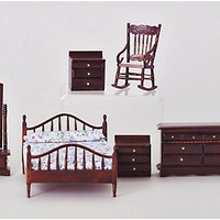 Mahogany Master Bedroom Dollhouse Miniature Set | www.hayneedle.com